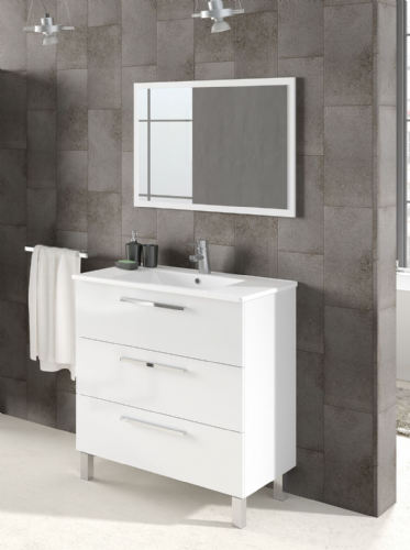 Valdo Bathroom Vanity Sink With Undersink Cupboard White Gloss - 2609